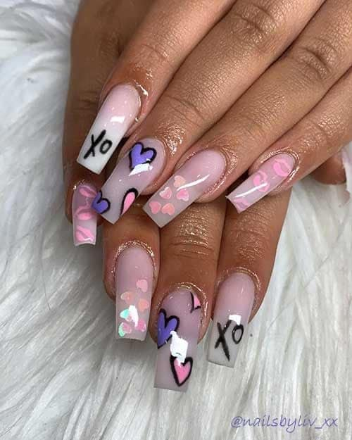 cute valentines nails