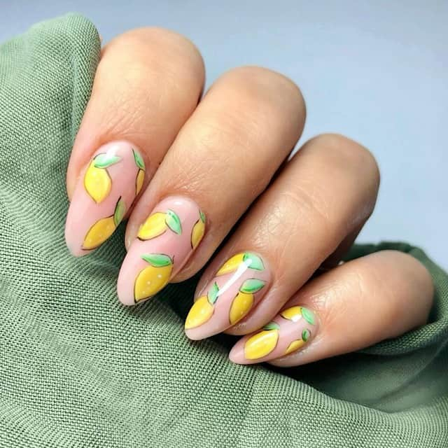 lemon summer nails