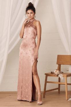 satin side slit wedding guest dress