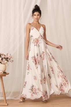 cream floral summer wedding guest dress