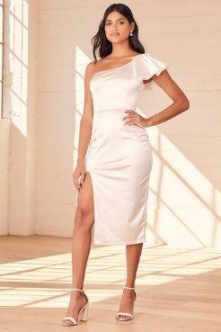 satin white graduation dress